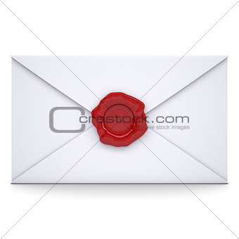 White envelope with a red seal