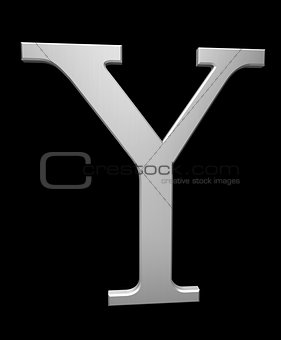 Letter Y in brushed steel