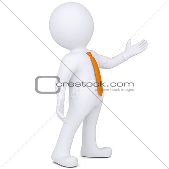 3d white man points hand