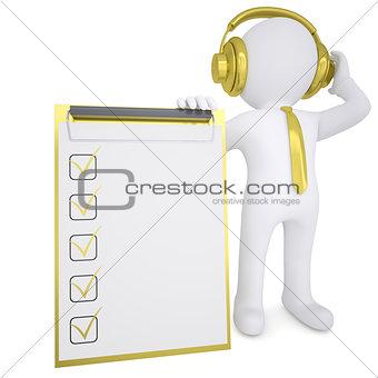 3d white man in gold headphones