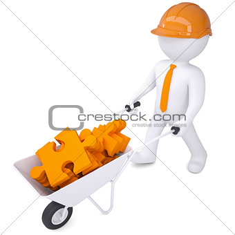 3d man in helmet carry in wheelbarrow clay puzzles