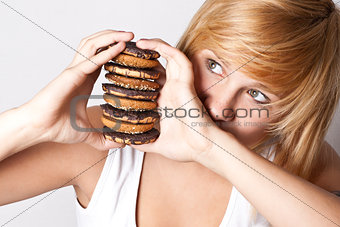 woman with chocolate chip cookies