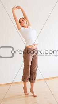 Cute Girl Stretches