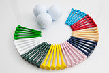The colorful wooden golf tees 