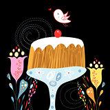 cake and bird