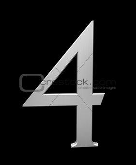 Number 4 in brushed steel
