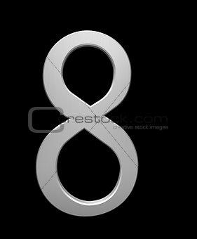Number 8 in brushed steel