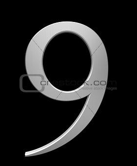 Number 9 in brushed steel