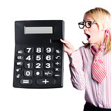 Woman with large calculator