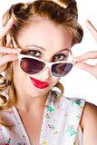 Fashionable woman in sun shades