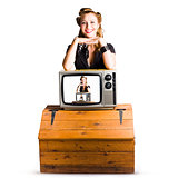 Woman  in front of TV camera