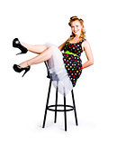 Pinup woman on bar stool