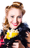 Portrait of woman with popcorn
