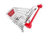 shopping cart top view isolated on white