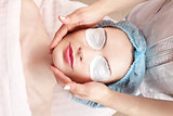 Beautiful woman with clear skin getting beauty treatment - massa