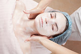 Beautiful woman with clear skin getting beauty treatment of her 