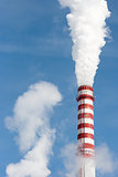 Smoking gas power plant stack closeup