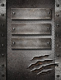 metal damaged grate background with three plates and rivets