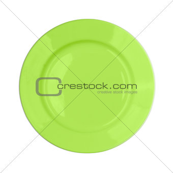 green round plate on white background