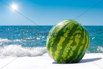 Whole watermelon near sea outdoor in sunny day