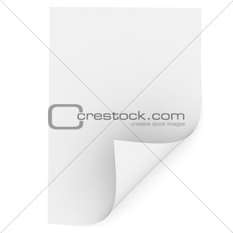 White blank paper with a bent corner