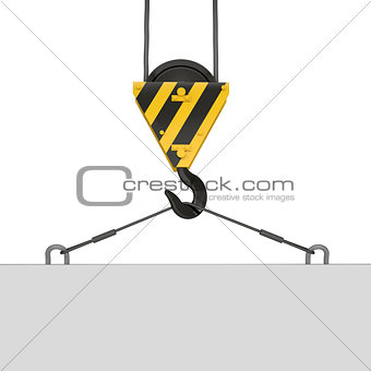 Crane hook lifts the white plate
