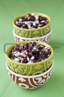 Four national oriental bowls with red and white beans