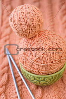pink yarn and knitting needles, Turkish national dish