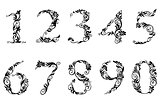 Digits and numbers set with floral details