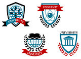 Set of university and education emblems