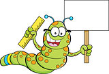 Cartoon Inchworm Holding a Sign