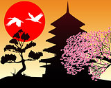 Silhouette Pagoda and cherry