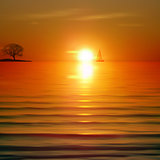 Abstract background with sea sunrise and tree