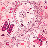 Seamless spring grunge floral pattern