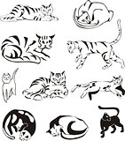Set of outline cats