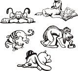 Set of dog cartoons