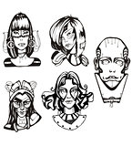 Heads of female cyborgs