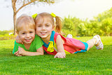 Two little kids in park