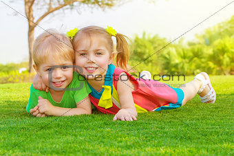 Two little kids in park