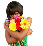African female with colorful bouquet