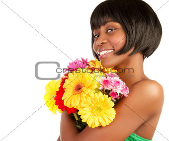 African female with fresh flowers