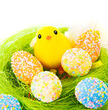Colorful eggs with little chick