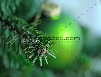 Green Christmas ball on branch