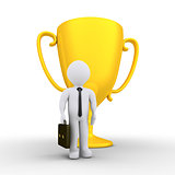 Businessman won the golden cup