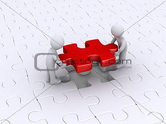 Two persons finish puzzle