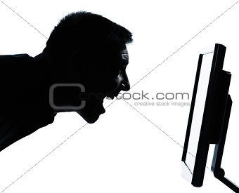 one business man face silhouette with computer screen display ha
