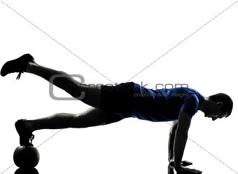 man exercising workout push ups