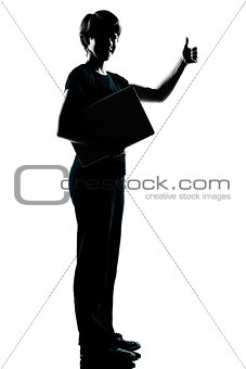 one  teenager silhouette holding carrying laptop computer thumb