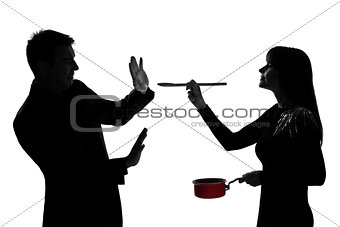 one couple man and woman tasting cooking sauce pan