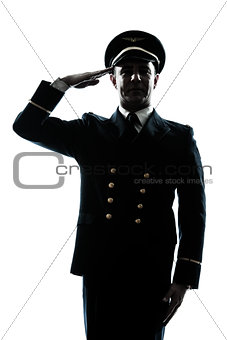 man in airline pilot uniform silhouette saluting